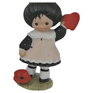 Enesco 1983 Girl Figurine With Heart