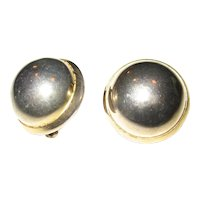 Les Bernard Large Gold-tone Button Earrings