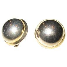 Les Bernard Large Gold-tone Button Earrings