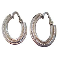 Pair of Bergere Silver-tone Clip Earrings