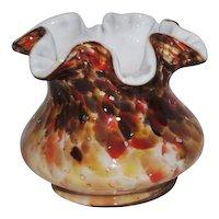 """Fenton Autumn Vasa Murrhina 4"""" Squat Vase"""
