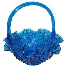 Fenton Colonial Blue Hobnail Basket