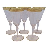 5 Stemmed Wine Glasses - Wide Gold Colored Band