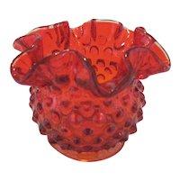 "Fenton Orange Hobnail 3"" Vase"