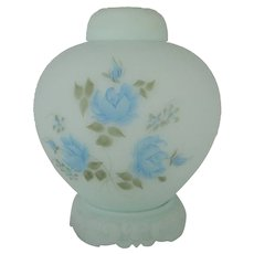Large Blue Roses on Blue Satin Ginger Jar - 2 Avail.