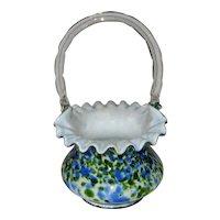 "Fenton Blue/Green Aventurine Vasa Murrhina 7"" Basket"