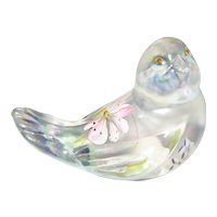 Fenton Small White Carnival Hand Painted Bird