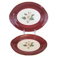 2 Homer Laughlin/Lifetime China Burgundy Platters