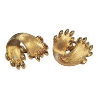 Crown Trifari Goldtone Clip-On Earrings