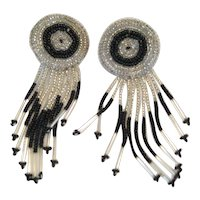Beaded Black and Silvertone Pierced Earrings