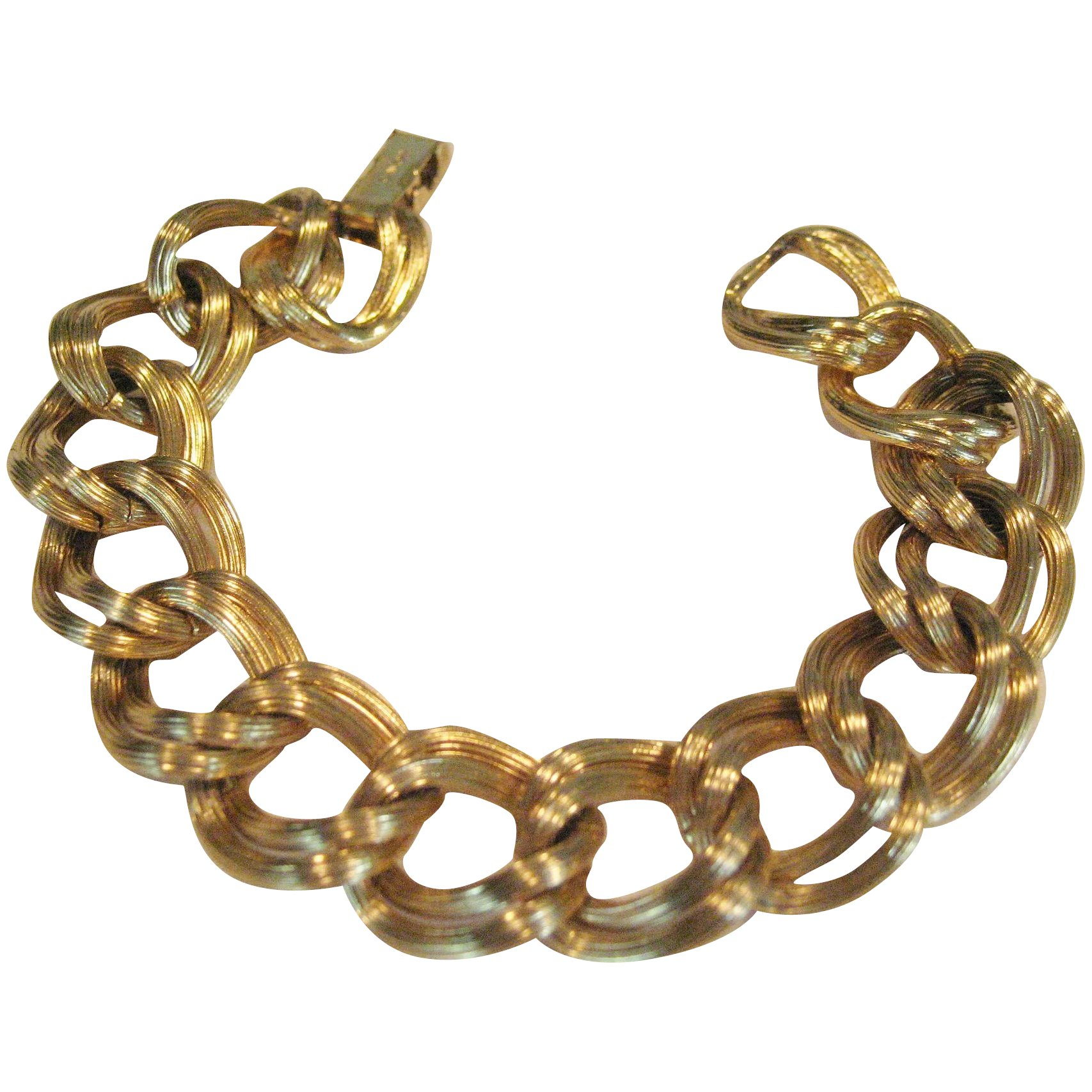 Gold Avon ball and cage bracelet