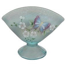 Fenton Blue Opalescent Fan Vase - Butterfly and Floral