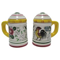 Roosters & Roses/Early Provincial HP Salt & Pepper Shakers