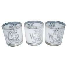 Set of 3 76th World Series Old Fashion Glasses