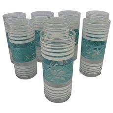 Set of 8 Aqua/Turquoise and White Drinking Glasses