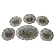 Owen Pottery Game Bird Platter and 5 Plates