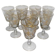 Set of 8 Etched Leaf Wine or Water Stems