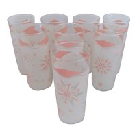Set of 8 Anchor Hocking Pink & White Tumblers
