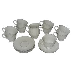 Syracuse Silhouette Wedding Ring Cups & Saucers