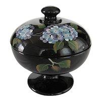 Fenton Black Covered Comport - Blue Hydrangeas