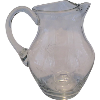 Small Crystal Pitcher - Etched Flower