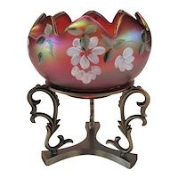 Fenton Red Irridescent Carnival Bowl and Stand