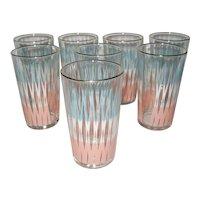 Set of 8 Pink & Blue Mid Century Glasses