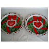 "Two 13"" Round Christmas Trays"
