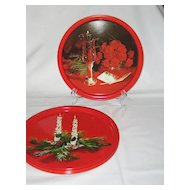 Set of 6 Round Christmas Trays - Various Scenes