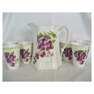 U.S. Pottery Lemonade/Cider Set - Grape Pattern