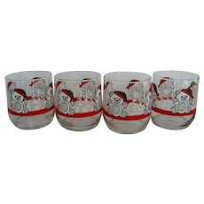 Set of 4 Libbey Christmas Bear Old Fashion Glasses
