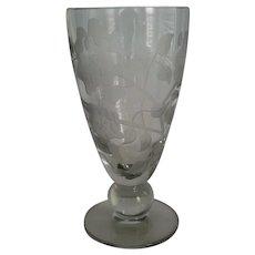 Tiffin Glass Crystal Teardrop Sand Carved Vase
