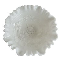 Imperial Milk Glass Ruffled Windmill Bowl