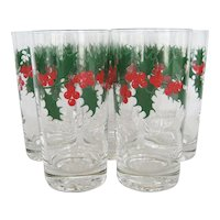 Set of 8 Holly Leaf w/Berries Christmas Tumblers