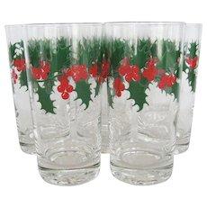 Set of 8 Holly Leaf w/Berries Christmas Tumblers