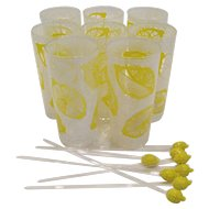 Set of 8 Lemonade Glasses w/Lemon Stirs