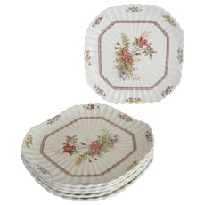 """Copeland Spode """"Rosalie"""" Square Luncheon Plate - 6 Available"""