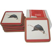 """Box of 6 Pimpernel """"Riding Hat"""" Acrylic Coasters"""
