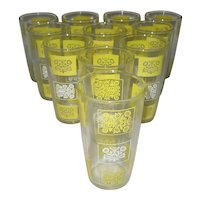 Set of 11 Hazel Atlas Yellow & White Tumblers