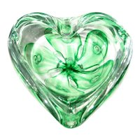 Green and Clear Glass Paperweight/Ashtray