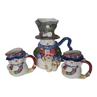Lefton Snowman Pitcher & 2 Mugs