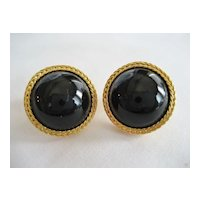 Liz Claiborne Black and Goldtone Button Pierced Earrings