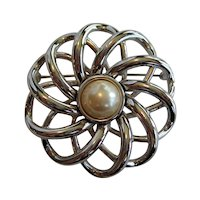 Monet Silvertone Brooch with Faux Pearl Center