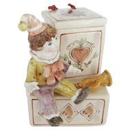 Schmid Ceramic Clown Music Box With Animated Feature - Entertainer