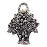Avon Marcasite Flower Basket Pin