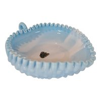 Fenton Blue Slag Hobnail Heart Shaped Candy Dish