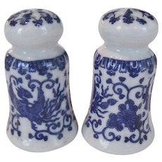 Blue and White Salt and Pepper Shakers - Japan