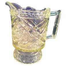 EAPG Richards & Hartley Vaseline Glass  Pitcher