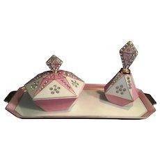 1956 George Lefton Pottery 3 piece Dresser Set pink sparkly