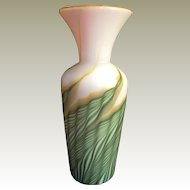 2003 Art Glass Lundberg Studios Vase green pulled feathers Vase